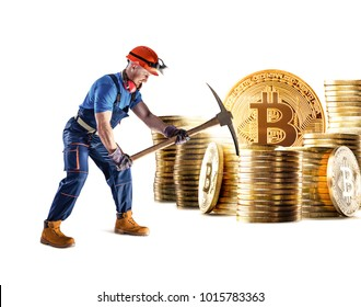 Bitcoin mining virtual cryptocurrency concept