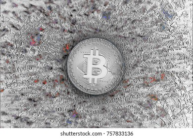 Bitcoin. New virtual currency comes into use quickly. Concept of old money and silver bitcoin with wonderful future, digital currency, cryptocurrency