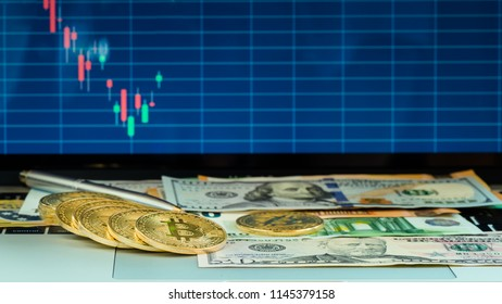 Bitcoin new virtual money with USA banknote, Golden bitcoin and UAD dollar are conceptual image for forex