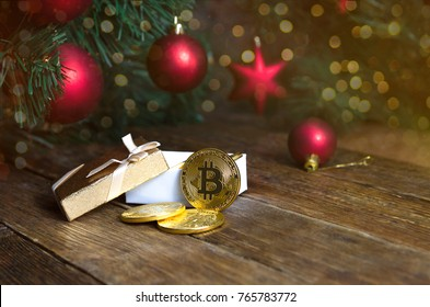 bitcoin and new year. Crypto currency bitcoin on a Christmas background.