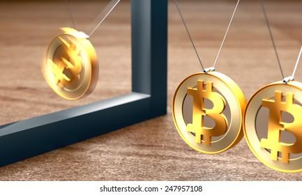 Bitcoin newton cradle swinging macro photo