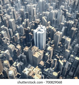 Bitcoin office tower concept / 3D illustration of bitcoin currency symbol shaped building in downtown modern city