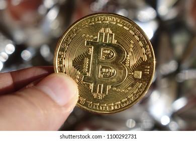 Bitcoin on abstract background.Bitcoin. Crypto currency Bitcoin, BTC, Bit Coin. Crypto mining concept.