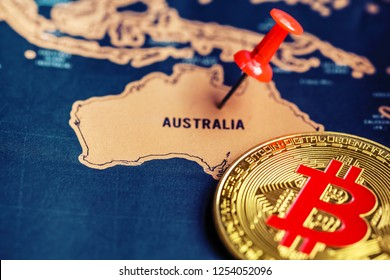Bitcoin on Australia (map). Regulations of cryptocurrency in Australia concept.