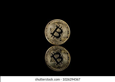 Bitcoin on a black background