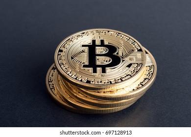 Bitcoin on black background