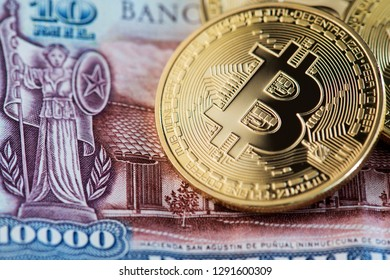 Bitcoin on Chile pesos banknotes. Bitcoin Cryptocurrency Digital Bitcoin BTC Currency Technology Business Internet Concept Chile Pesos Money Banknotes Blockchain