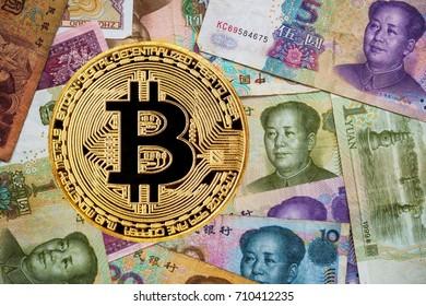 Bitcoin on a China money background