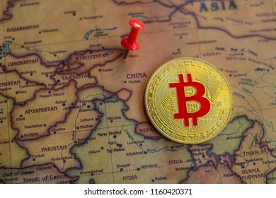 Bitcoin on China part of world map. Bitcoin investment/mining in China concept.