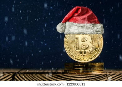 bitcoin on the christmas backgrounds