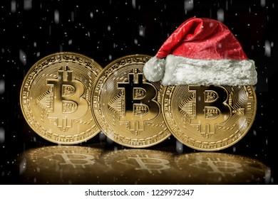 bitcoin on the christmas backgrounds
