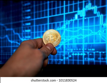 bitcoin on the computer with stock market graph