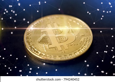 Bitcoin on a dark background. E-Commerce cryptocurrencies. The concept of technologies of virtual currencies