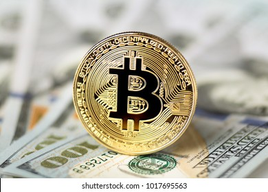 bitcoin on dollars, concept of crypto-currency finance, profit, business