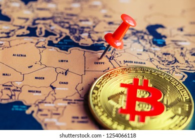 Bitcoin on Egypt (map). Regulations of bitcoin in Egypt concept.