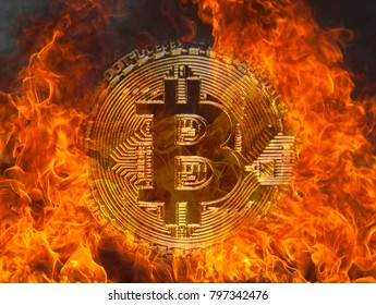 Bitcoin on fire, the concept of a crypto currency fall
