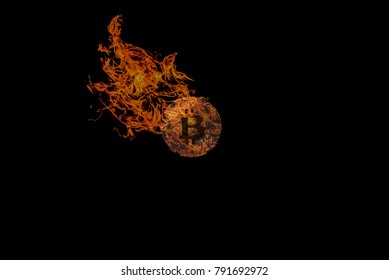 Bitcoin on fire falling fast in the crypto currency market, losing ground to fiat money.