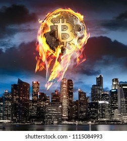 Bitcoin on fire. Flaming btc coin is going up to night sky above business skyscrapers