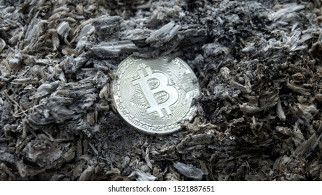 Bitcoin on fire-scorched earth among ashes. System collapse and loss of capital