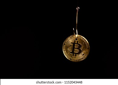 Bitcoin on a fishhook in black space  background.