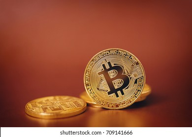 Bitcoin on Golden background