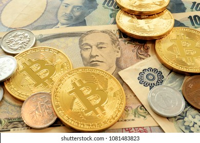 Bitcoin on Japanese Yen Bills. Concept for Cryptocurrencies in Japan