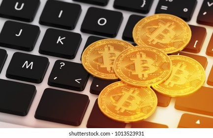 bitcoin on keyboard, 3D rendering