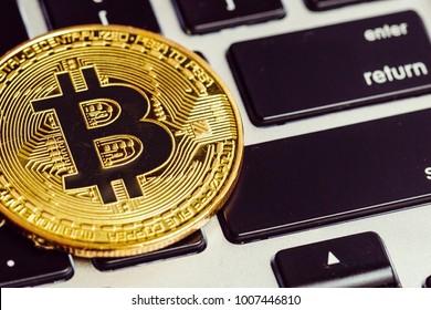 bitcoin on a laptop