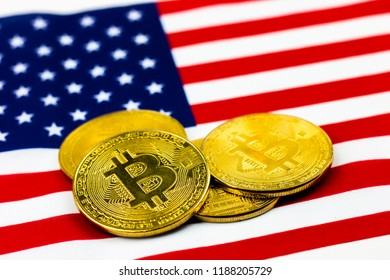 Bitcoin on national flag of USA United State of America for block chain marketing