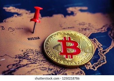 Bitcoin on Russia territory on map. Bitcoin in Russia concept.