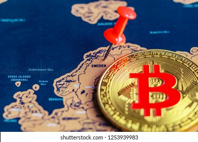 Bitcoin on Sweden part of map. Mining of / investment in bitcoin in Sweden concept.
