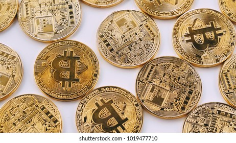 Bitcoin on white background