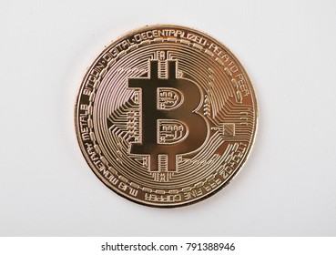 Bitcoin on white background. Cryptocurrency