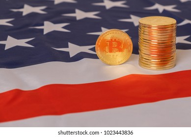 Bitcoin over United States of America flag.