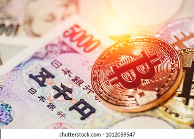 Bitcoin payment using cryptocurrency with Japan Yen money.