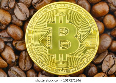 The Bitcoin penny is placed on the coffee beans.  Digital Media Investors Made to order coffee.