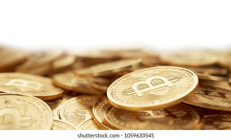 Bitcoin physical coins. 3d illustration