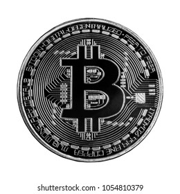 Bitcoin or Physical Digital currency or Cryptocurrency Silver coin for use digital money or wallet in future as business, Isolated on white  background, high resolution