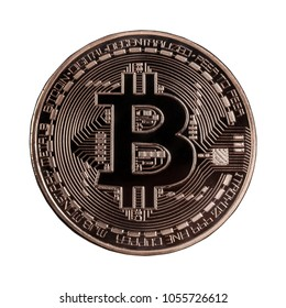 Bitcoin or Physical Digital currency or Cryptocurrency copper coin for use digital money or wallet in future as business, Isolated on white  background, high resolution