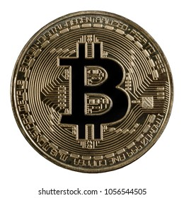 Bitcoin or Physical Digital currency or Cryptocurrency Golden coin for use digital money or wallet in future as business, Isolated on white  background,high resolution