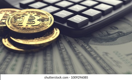 Bitcoin pile and calculator laying on dollar bills. Fees and taxes for cryptocurrencies investments concept. 3D rendering