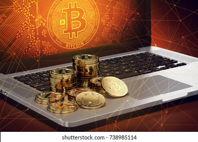 Bitcoin piles laying on computer with Bitcoin logo on-screen and blockchain nodes all around. Bitcoin transactions endangered concept. 3D rendering