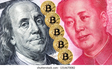 Bitcoin and portraits of Benjamin Franklin against Mao Zedong. Business concept of worldwide digital money and trade war