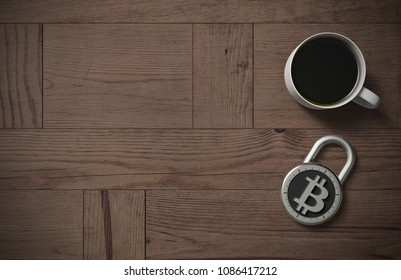Bitcoin protected and secured with coffee on a wooden table as 3d rendering. A combination lock is locked with a bitcoin symbol indicating protected cryptocurrency and peace of mind with coffee.
