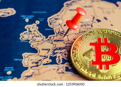 Bitcoin and pushpin on Germany (map). Operations with/ investment in bitcoin in Germany concept.