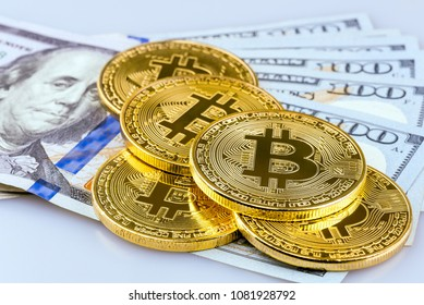 Bitcoin putting on US Dollar bank background.Conceptual design for technology of Cryptocurrency and money investing.