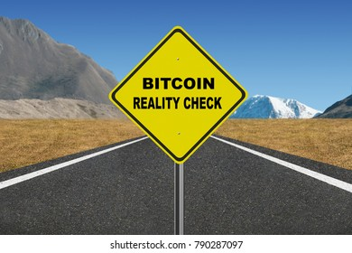 Bitcoin reality check warning sign on highway background