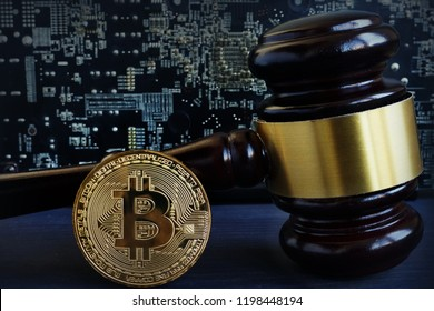 Bitcoin regulation concept. Cryptocurrency and law.