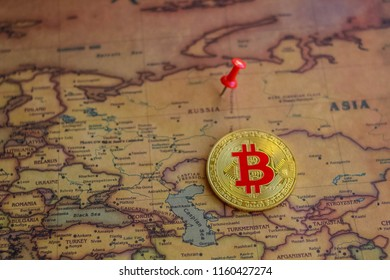 Bitcoin in Russia part of world map. Bitcoin investment/ mining in Russia concept.