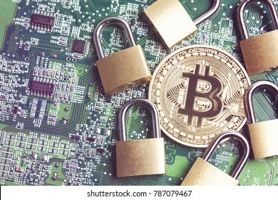 bitcoin security concept. Gold coin with padlock